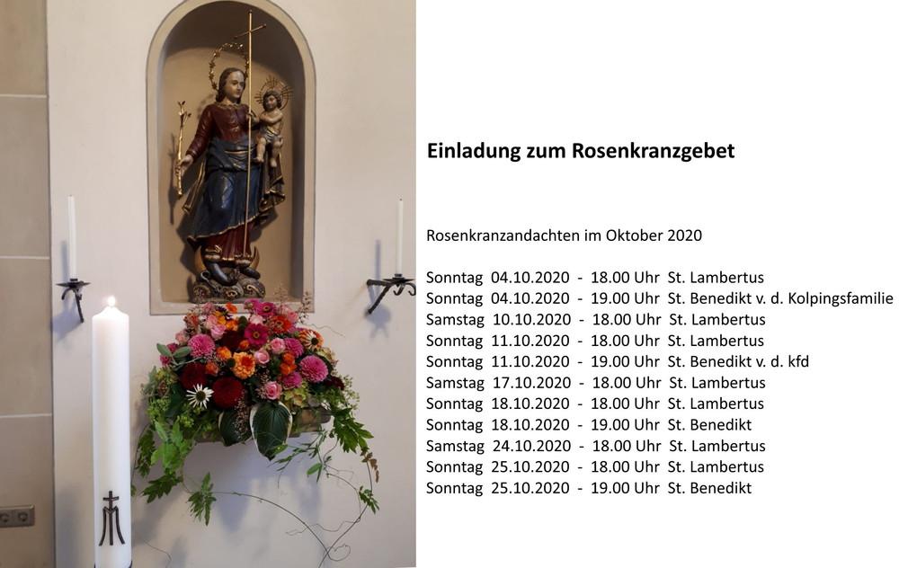 Einladung zum Rosenkranzgebet